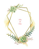 Watercolor vector composition of cacti and succulent plants and gold geometric frame. - 199894191