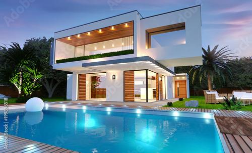 Leinwanddruck Bild Belle maison moderne d'architecte avec piscine avec éclairage de nuit