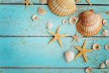 summer seashells on sand - 199897171