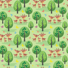 Deer family. Seamless pattern with cute animals and their cubs. Colorful vector background in cartoon style. © olga_a_belova