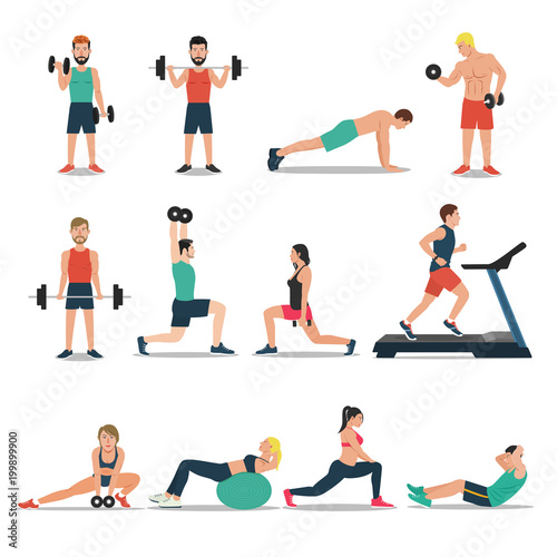 Poster Men and women workout set isolated on white background. Cardio, weightlifting, treadmill, bodybuilding