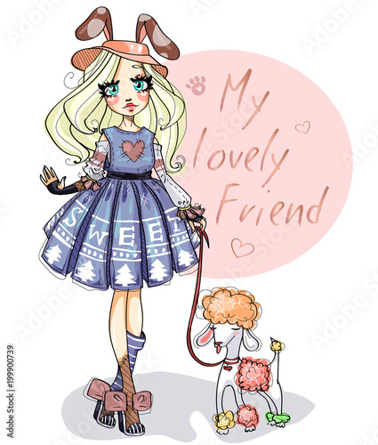 Cute little girl with her dog poodle. Lovely friends cartoon character hand drawn vector kids illustration - 199900739