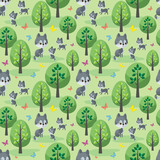 Wolf family. Seamless pattern with cute animals and their cubs. Colorful vector background in cartoon style.