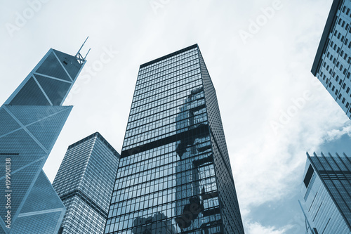 Modern city skyline with skyscrapers