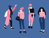 Fashionable young women in casual style.  Vector hand drawn stylish set with girls. Bright design. - 199903513