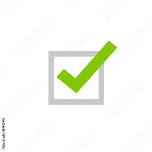 Tick Icon Vector Symbol Flat Cartoon Green Checkmark Isolated On