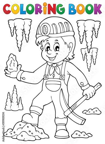 Poster Voor kinderen Coloring book miner theme image 1