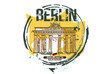 Brandenburg gate, Berlin / Germany city design. Hand drawn illustration.