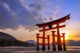 Great torii of Miyajima at sunset, near Hiroshima, Japan