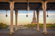 Bir Hakeim bridge, Eiffel tower in the background, Paris France