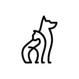 dog cat pet care outline line art monoline logo vector icon
