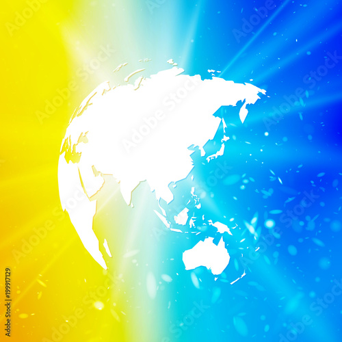 abstract world globe, planet earth with starburst on blue yellow background asia view