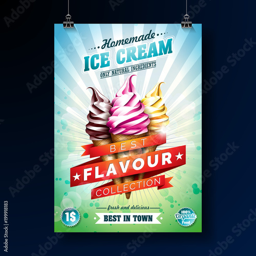 Ice cream Poster design with delicious dessert and labelled ribbon on fresh green background. Vector design template for promotional banner or flyer with vanilla, chocolate, punch. - 199918183