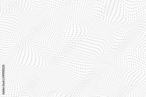 Abstract digital landscape with particles dots and lines. Big Data visualization. Wireframe landscape background. Futuristic vector illustration. Sci-Fi background.