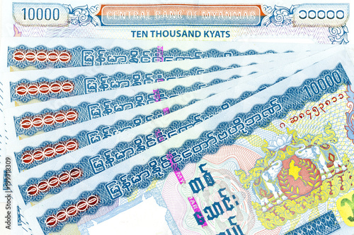 Currency banknotes spread across frame myanmar kyat Poster