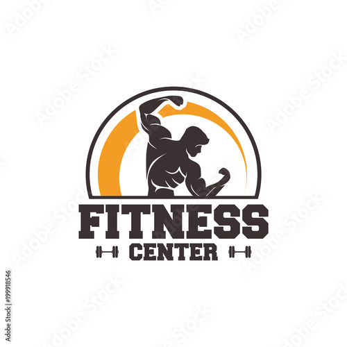 Aluminium Fitness Fitness logo badge with muscle man, Gymnastic logo template vector, Body Build logo badge