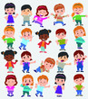 Cartoon character boys and girls. Set with different postures, attitudes and poses, doing different activities. Vector illustrations. - 199918950