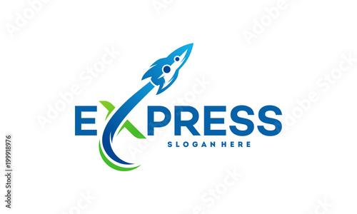 Fototapeta Fast Forward Express logo designs vector, Modern Express logo template, Express logo with Rocket Symbol