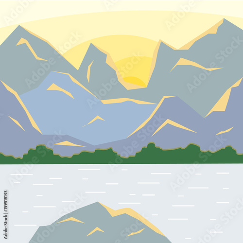 Plexiglas Donkergrijs Mountain landscape with a lake at dawn.