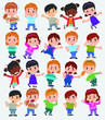 Cartoon character boys and girls. Set with different postures, attitudes and poses, always in negative attitude, doing different activities. Vector illustrations. - 199919383
