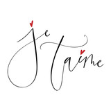Romantic love hand drawn lettering on white
