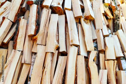 Foto op Aluminium Brandhout textuur fried firewood background