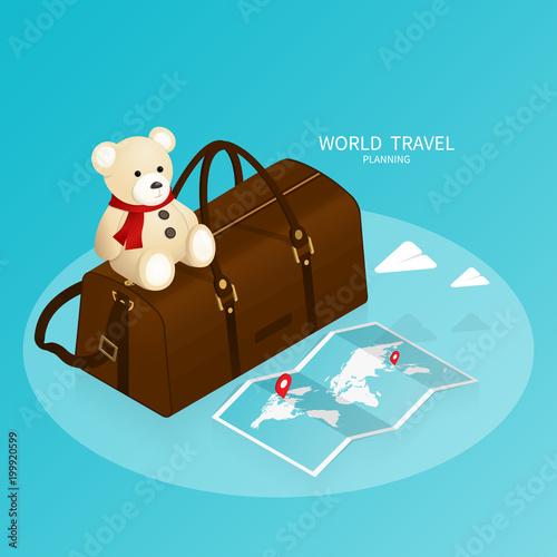 isometric online booking ,passport world map,trip plan travel vector