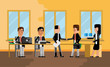 Business meeting asian businessman with european investor, secretary with coffee cups. Corporate multiethnic business people isolated vector illustration.