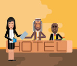 Arabic and african receptionists at hotel reception desk, asian secretary with document and coffee cup. Corporate multicultural business people vector illustration. - 199921530