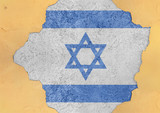 Israel flag in big concrete cracked hole and broken material facade structure - 199922563