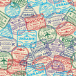 Seamless pattern with visa rubber stamps on passport. Barcelona, France, Moscow, Hong Kong, Canada, Dublin, USA, Istanbul, Rome, Ukraine, London immigration signs, airport travel vector illustration. - 199923765