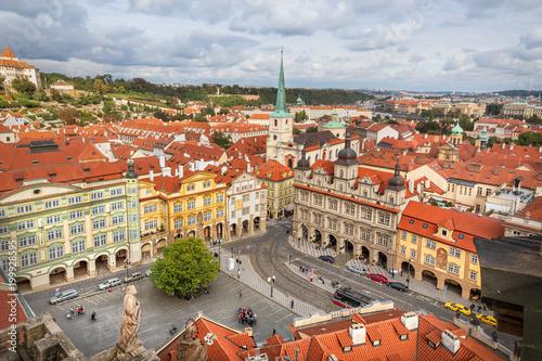 Poster Praag Aerial view of Malostranske namesti (Lesser Town Square) in Prague, Czechia