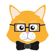 cute tiger head animal with glasses and tie bow