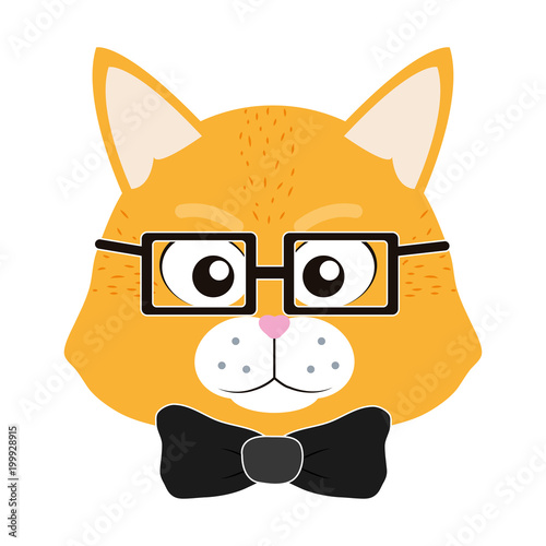 Fototapeta cute tiger head animal with glasses and tie bow