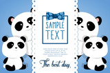Fototapeta happy fathers day card with panda bears vector illustration design