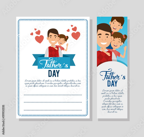 best father with daughter and son avatars vector illustration design