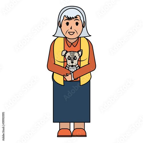 kolor linii Stara kobieta z fryzurą i psem w rękach