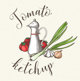 Jar with tomato ketchup