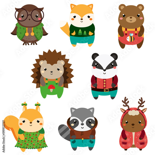 Cute forest animals. Cartoon kawaii wildlife animals set