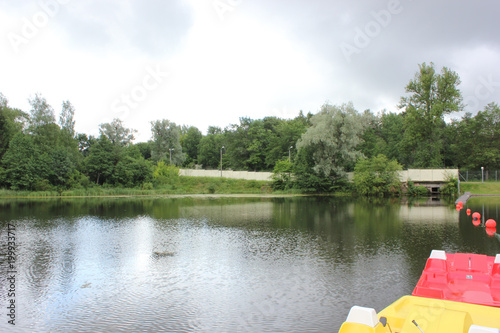 Foto op Canvas Wit beautiful lake landscape with trees and herbs