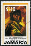 JAMAICA - 1995: shows portrait of Robert Nesta Bob Marley (1945-1981), Fire, by Neville Garrick, Reggae Musician