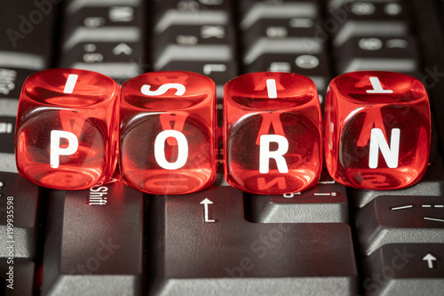 Word PORN on red toy cubes