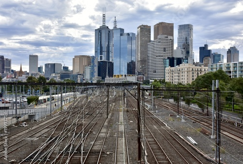 Melbourne city skyline from Richmond, looking out over train lines - 199937131