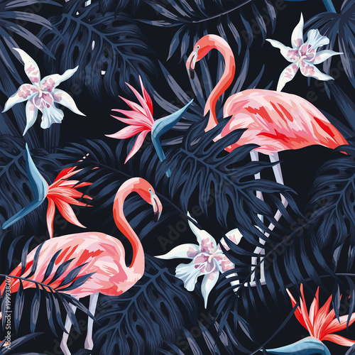 Cotton fabric flamingo strelitzia palm leaves dark background pattern