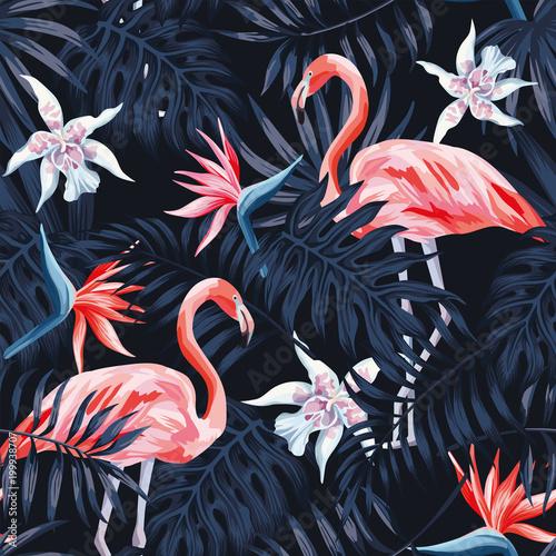 Cotton fabric flamingo strelitzia palm leaves dark background pattern