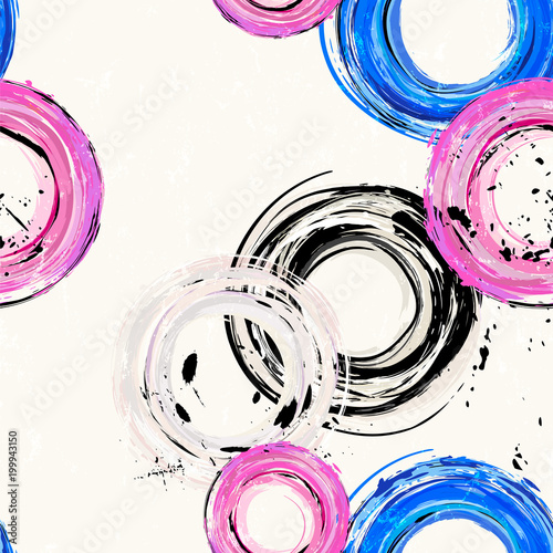 Fotobehang Abstract met Penseelstreken seamless background pattern, with circles, strokes and splashes, grungy style.