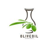 Olive Oil Logo Template Design Vector, Olive Oil Emblem Design Concept with jar symbol