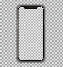 New High Detailed Realistic Smartphone Similar To Phone  On Transparent  Display Front View Device Mockup Separate Groups And Layers Easily Editable  Eps 10 Sticker