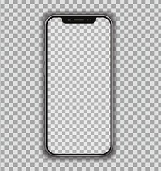 New High Detailed Realistic Smartphone similar to phone Isolated on Transparent Background. Display Front View. Device Mockup Separate Groups and Layers. Easily Editable Vector. EPS 10.