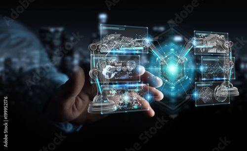 Businessman using robotics arms with digital screen 3D rendering © sdecoret